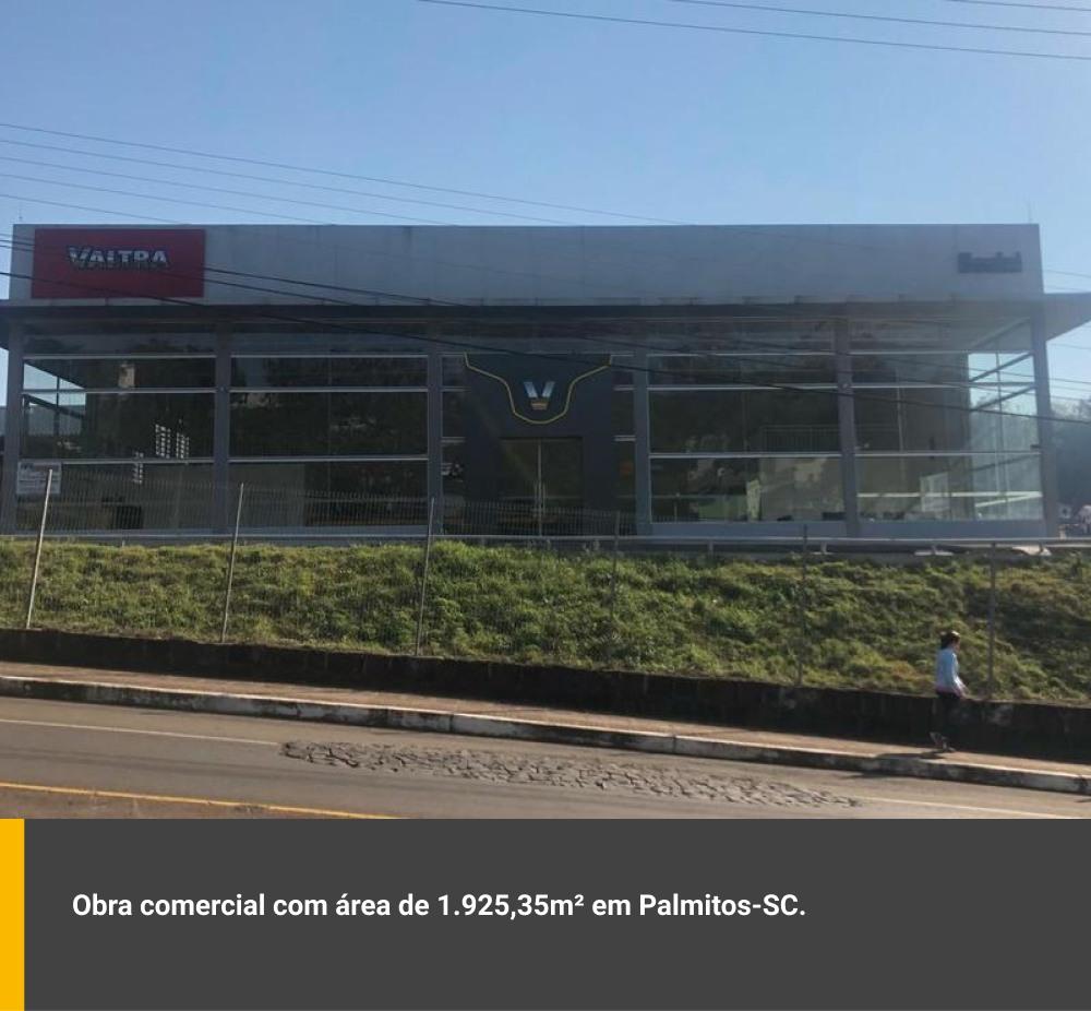 Obra comercial com área de 1.925,35m² em Palmitos / SC