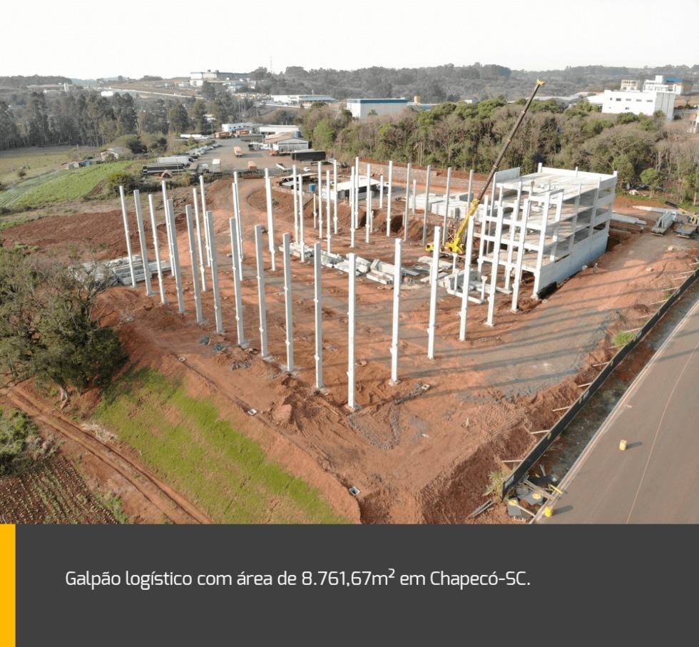 Galpão logístico com uma área de 8.761,67m² em Chapecó / SC