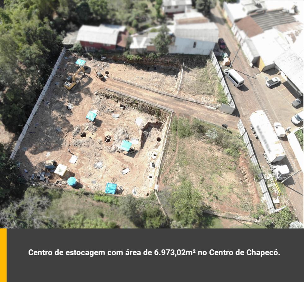 Centro de estocagem com área de 6.973,02m² no Centro de Chapecó